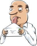 Man Licking Envelope Stock Images