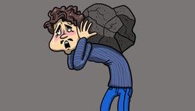 Man lidande, medan bära en skurkroll, vaggar på hans baksida, illustration Arkivfoto