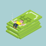 Man lie on giant dollars, isometric cubes composition. Financial success, excellent investment, savings, deposit.  Royalty Free Stock Image