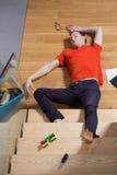 Man lies unconsciousness Stock Image