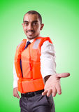 Man in life jacket isolated on white Stock Image