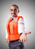 Man in life jacket isolated on white Royalty Free Stock Photo