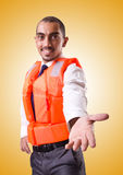 The man in life jacket isolated on white Royalty Free Stock Images