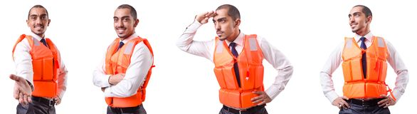 The man in life jacket isolated on white Stock Photography