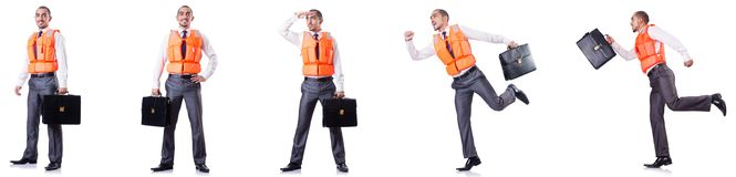 The man in life jacket isolated on white Royalty Free Stock Photography