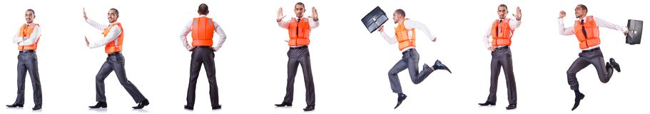 The man in life jacket  on white Stock Photo
