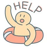 Man in lifebuoy call for emergency help vector illustration. Man in lifebuoy call for emergency help - vector illustration of cry for help vector illustration