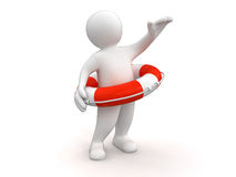 Man with Lifebuoy (clipping path included) Royalty Free Stock Images