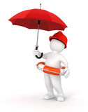 Man with Lifebuoy under Umbrella (clipping path included) Stock Image