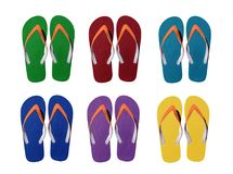 Man lifestyle six relax flip flops isolated on white. Background royalty free stock images