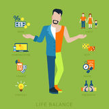 Man lifestyle vector flat life balance concept. Flat life balance young man abstract lifestyle concept. Stylish 2-sided divided human figure front view hands Royalty Free Stock Photography