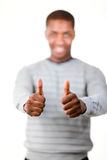 Man in Lifesyle clothes with his thumbs up Stock Photography