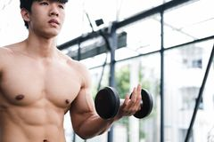 Man lift dumbbell in gym. bodybuilder male working out in fitnes. Young man lift dumbbell in gym. bodybuilder male working out in fitness center. sport guy doing Royalty Free Stock Photo