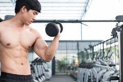 Man lift dumbbell in gym. bodybuilder male working out in fitnes Stock Image