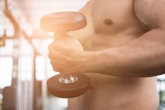 Man lift dumbbell in gym. bodybuilder male working out in fitnes. Young man lift dumbbell in gym. bodybuilder male working out in fitness center. sport guy doing Royalty Free Stock Photos