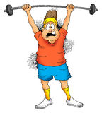 Man lifting barbell. Image of a Man struggling to lift a barbell Royalty Free Stock Image