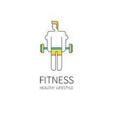 Man lifting barbell. Fitness logo. Man lifting barbell Stock Photography