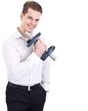 Man lifting barbell weight Royalty Free Stock Images