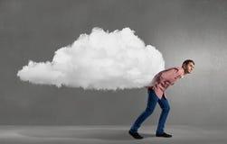 Man lifting cloud Stock Photography