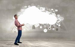 Man lifting cloud Royalty Free Stock Images