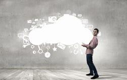 Man lifting cloud Royalty Free Stock Photography