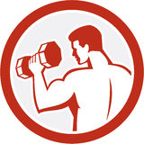Man Lifting Dumbbell Fitness Retro Royalty Free Stock Photography