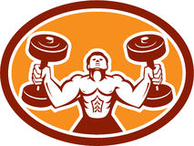 Man Lifting Dumbbell Weight Physical Fitness Retro Royalty Free Stock Photo