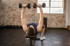 Man lifting dumbbells while lying on exercise bench. At the gym Royalty Free Stock Image