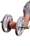 Man lifting dumbell. Weights over white background Royalty Free Stock Photography