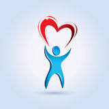 Man lifting a heart  symbol. Man lifting a heart stylized symbol Royalty Free Stock Photos