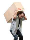 Man Lifting Heavy Box Stock Images