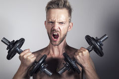 Man lifting heavy weights. Shirtless man working out lifting heavy dumbbells Royalty Free Stock Images