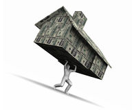 Man Lifting House Made of Money Stock Photos
