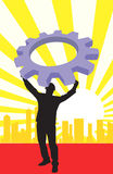 A man lifting a machine. Illustration of a man lifting a machine wheel in background of silhouette of buildings royalty free illustration