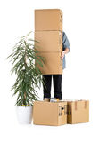 Man lifting moving carton boxes Stock Photos