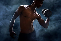 Man lifting weight. Macho man exercise lifting weight Royalty Free Stock Photo