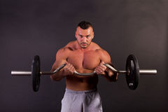 Man lifting weights. A bodybuilder training with a dumbbell Royalty Free Stock Image