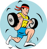 Man lifting weights running jog Royalty Free Stock Images