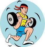 man lifting weights running jog Royalty Free Stock Images