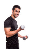 Man lifting weights. Smiling man lifting weights over white background Royalty Free Stock Photography