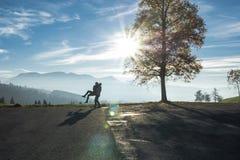 Romantic Fun in Autumnal Swiss Alps Royalty Free Stock Image