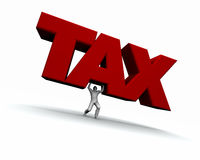 Man Lifting The Word TAX Stock Photo