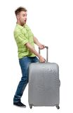 Man lifts silver suitcase Stock Photography