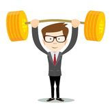 Man lifts up heavy barbell with dollar sign. Royalty Free Stock Images
