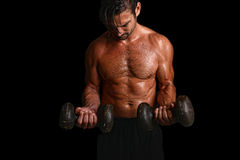 Man Lifts weight Stock Photography