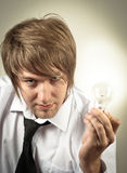 man and light bulb Royalty Free Stock Photography