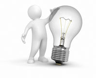 Man with Light bulb (clipping path included) Royalty Free Stock Image