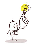 Man with light bulb on finger. Vector Royalty Free Stock Photos