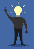 Man with light bulb instead of head, insight Royalty Free Stock Images