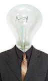 Man with light bulb instead of head on white Royalty Free Stock Images